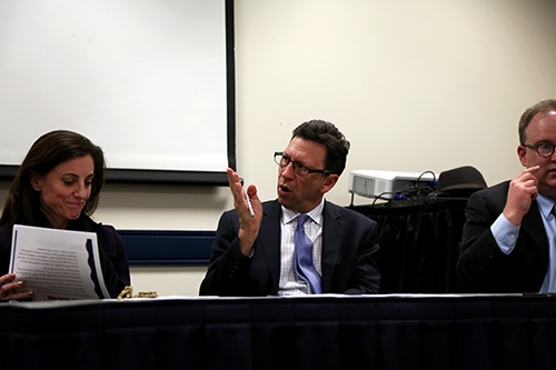 Frank Sesno, the director of the School of Media and Public Affairs, moderated a panel on media trends in presidential election coverage. Olivia Anderson | Hatchet Photographer