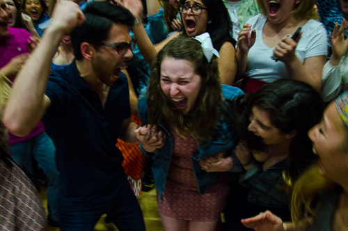 Erika Feinman celebrates after winning the Student Association presidential election in March. Hatchet File Photo.