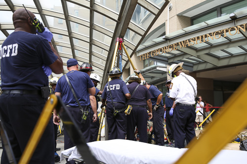 A worker was rescued from the escalator pit at the Foggy Bottom Metro station Thursday morning. Dan Rich | Photo Editor