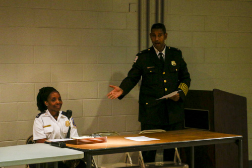 Second District Commander Melvin Gresham and Lieutenant Zenobia McBride answered questions about security at a Foggy Bottom Association meeting Tuesday night. Ethan Stoler | Hatchet Photographer