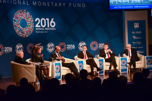 A panel of economic experts analyzed globalization's and technology's impacts on inequality as part of the International Monetary Fund's Annual Meetings. Elizabeth Rickert | Hatchet Photographer