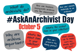 A graphic with several speech bubbles of potential questions for Ask An Archivist Day.