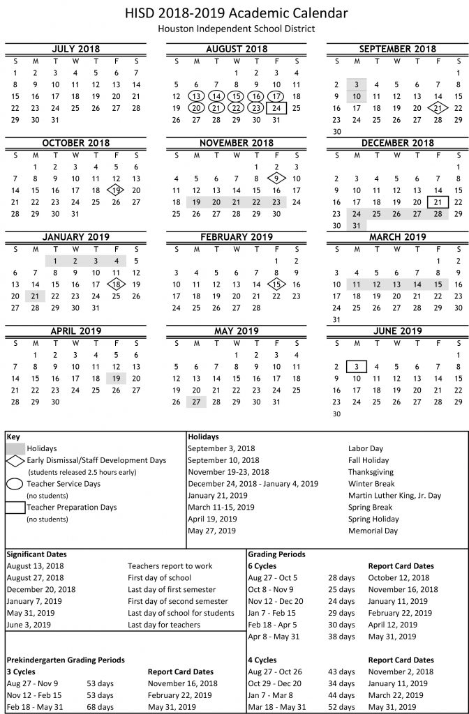 Academic calendar for 2018-19 school year available online now