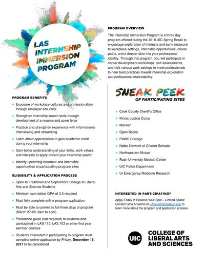 Limited Space! LAS Internship Immersion Program UIC
