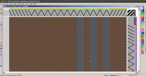 Fiberworks PCW, a Windows program for designing weaving drafts, running under WINE on Linux.