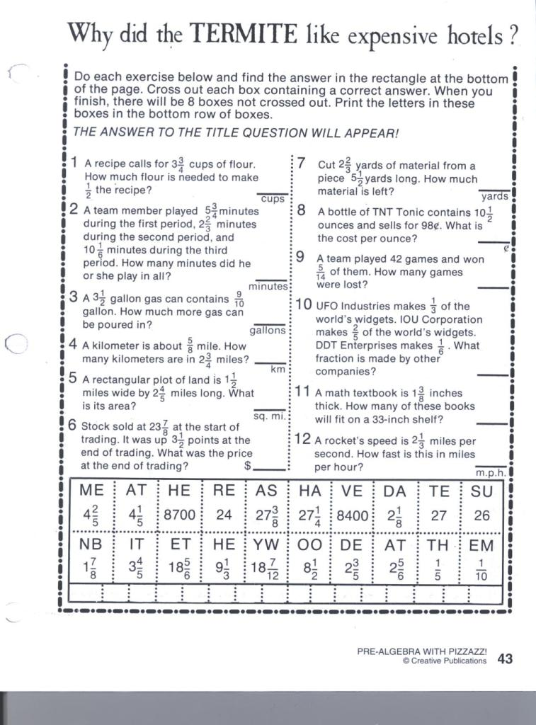 pre algebra with pizzazz worksheet answers – Pizzazz Math Worksheets Answers