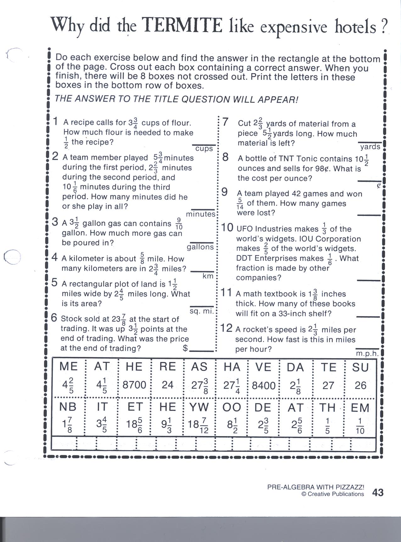 math worksheet : pizzazz worksheets  my sheet : Pizzazz Math Worksheets