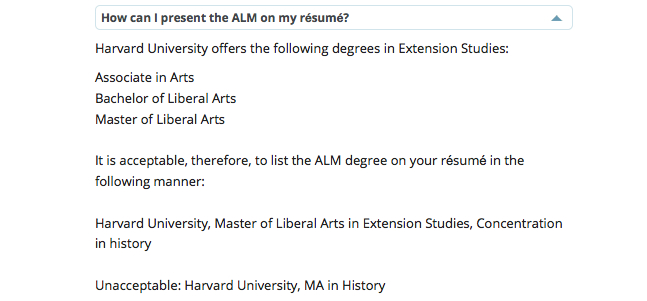 Harvard Extension School résumé guidelines are bogus Ipso Facto - master or masters degree on resume