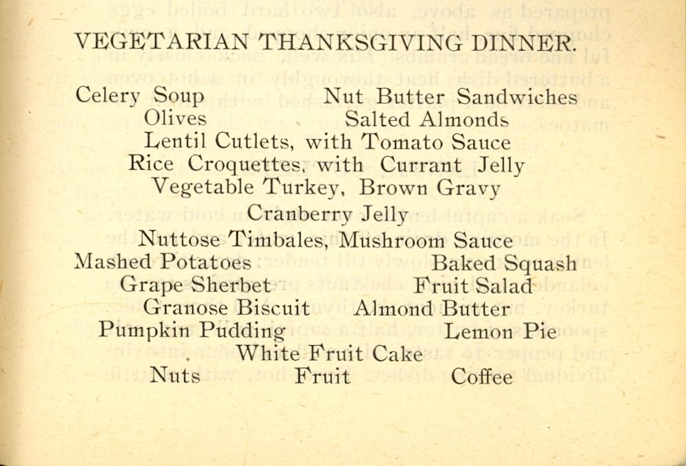A 1904 Vegetarian Thanksgiving Dinner Inside Adams Science