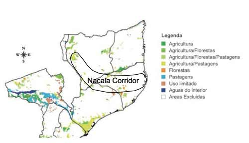 The yellow and green areas mark the land available for agriculture in the Nacala corridor