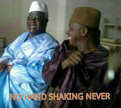 A satirical photo circulated on WhatsApp of President Koroma and a senior minister amid official recommendations to restrict physical contact