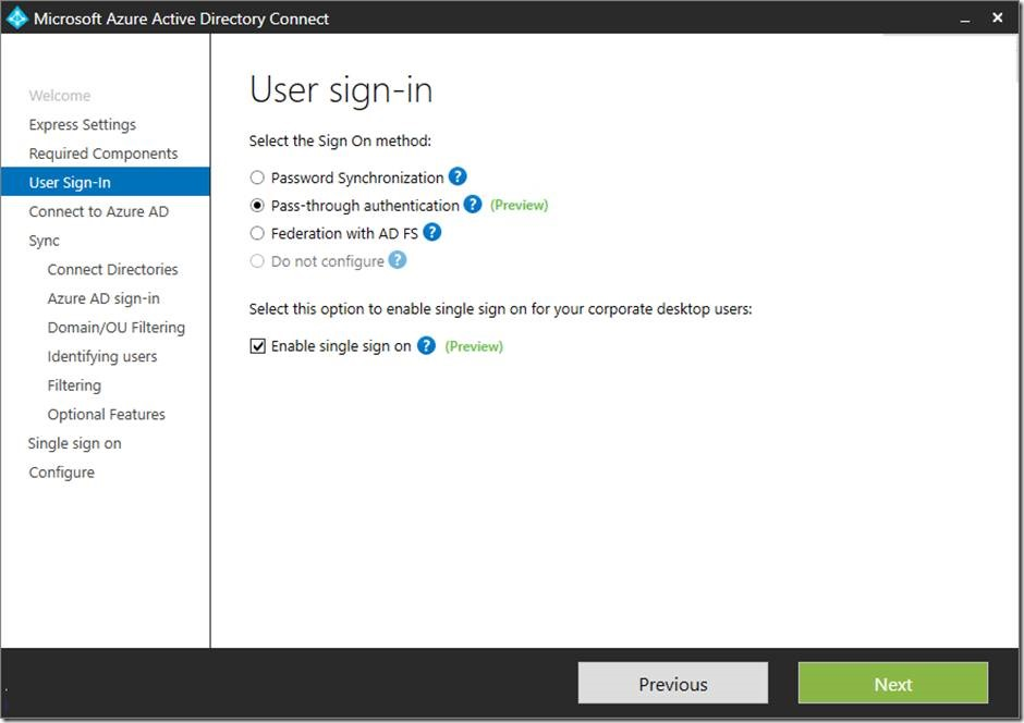 Azure Active Directory pass-through authentication, single sign-on