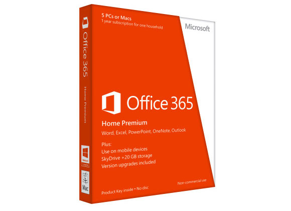 Give your family the tools they need to master school, work and play. A one-year subscription includes the applications you know and love, including Word, Excel, PowerPoint, OneNote and Outlook. Use it on up to five devices and take advantage of an additional 20GB of storage on SkyDrive. $99.99/year.