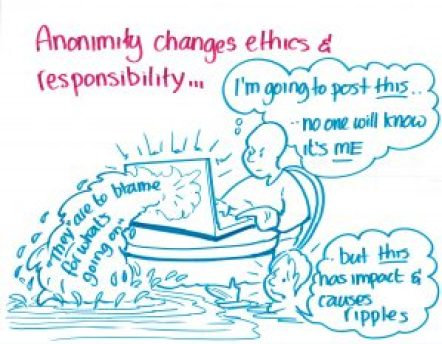 """Anonymity changes ethics & responsibility..."""