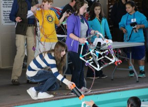 Students compete with their ROVs at the Regional Competition