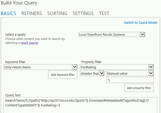 CSWP Query Builder Filter