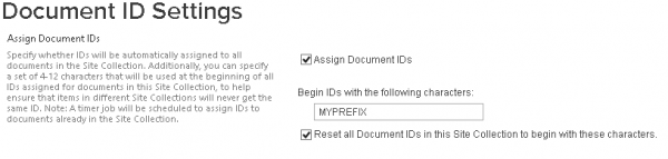 SharePoint2013 Document ID Settings