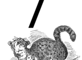 Graphic showing an angry cat growling defiance at a monstrous / punctuation.