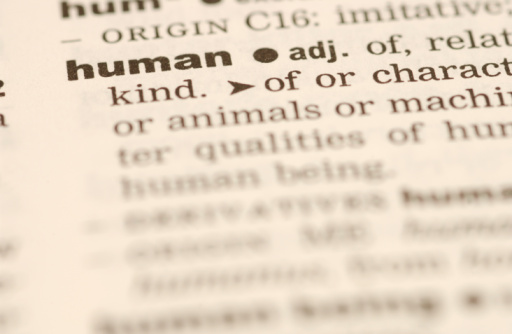Dictionary page showing definition of human