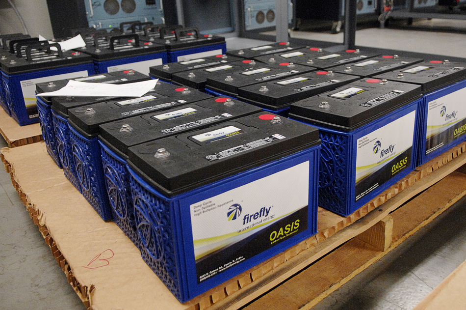 NICK SCHNELLE/JOURNAL STAR  A batch of finished batteries sit waiting to be boxed and shipped.