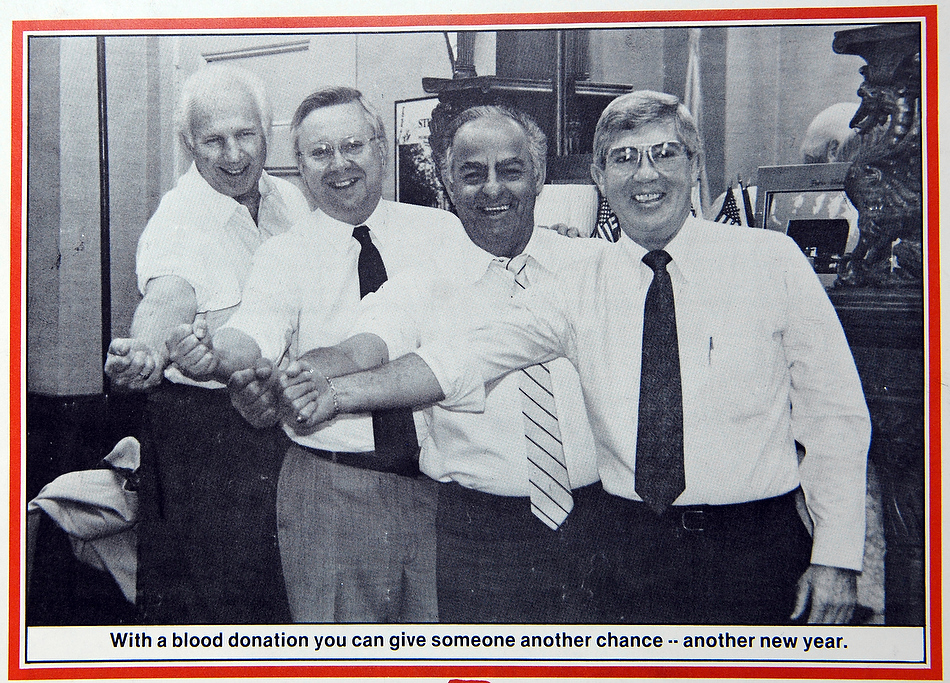 Photo courtesy Lee RansonAll of the competing weather men join forces with Jim Maloof for a blood drive back in 1989.