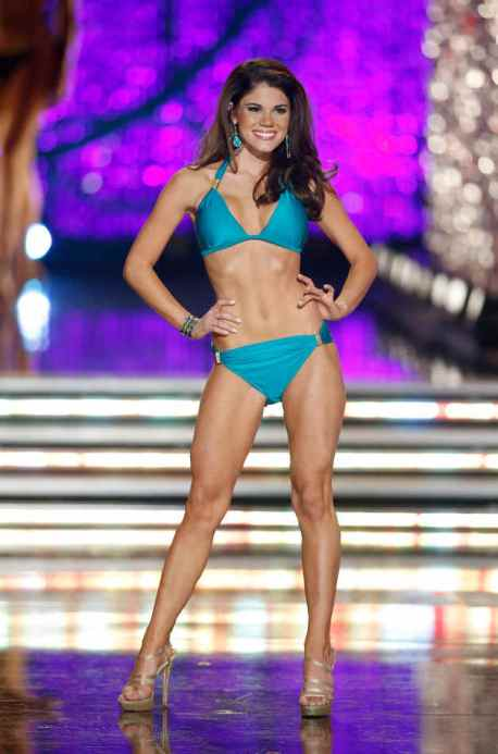 Miss Maryland Joanna Guy competes in the swimsuit portion of the Miss America 2013 pageant on Saturday, Jan. 12, 2013, in Las Vegas. (AP Photo/Isaac Brekken)