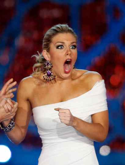 Miss New York Mallory Hytes Hagan reacts as she is announced Miss America 2013 on Saturday, Jan. 12, 2013, in Las Vegas. (AP Photo/Isaac Brekken)