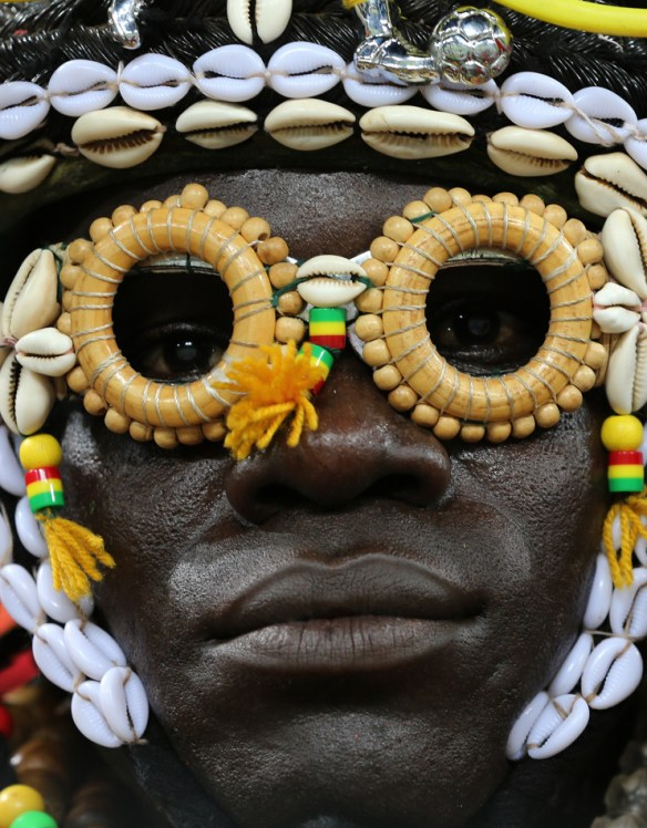 A Burkina Faso soccer fan waits for the start of the African Cup of Nations semifinal soccer match at Mbombela Stadium against Ghana in Nelspruit, South Africa, Wednesday Feb. 6, 2013. (AP Photo/Themba Hadebe)