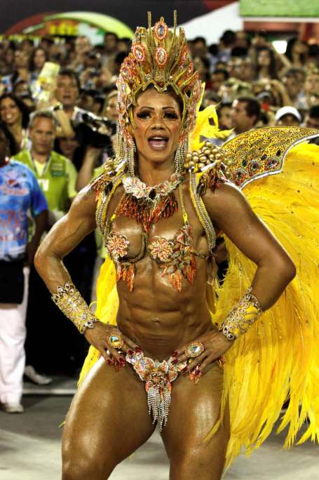 Performers from the Uniao da Ilha do Governador samba school participate in the carnival celebrations at the Sambadrome in Rio de Janeiro, Monday, Feb. 11, 2013. (AP Photo/Hassan Ammar)