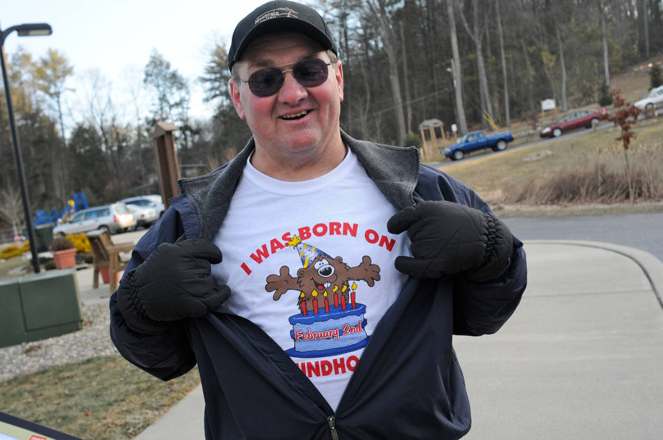 "Dave Hock, Pottsville, Pa., shows off his T-shirt given to him by his wife Betty, ""I Was Born On Groundhog Day"" at the annual Groundhog Day Celebration with Grover the Groundhog in Pine Grove, Pa., Saturday, Feb. 2, 2013. (AP Photo/The Republican-Herald, Jacqueline Dormer)"