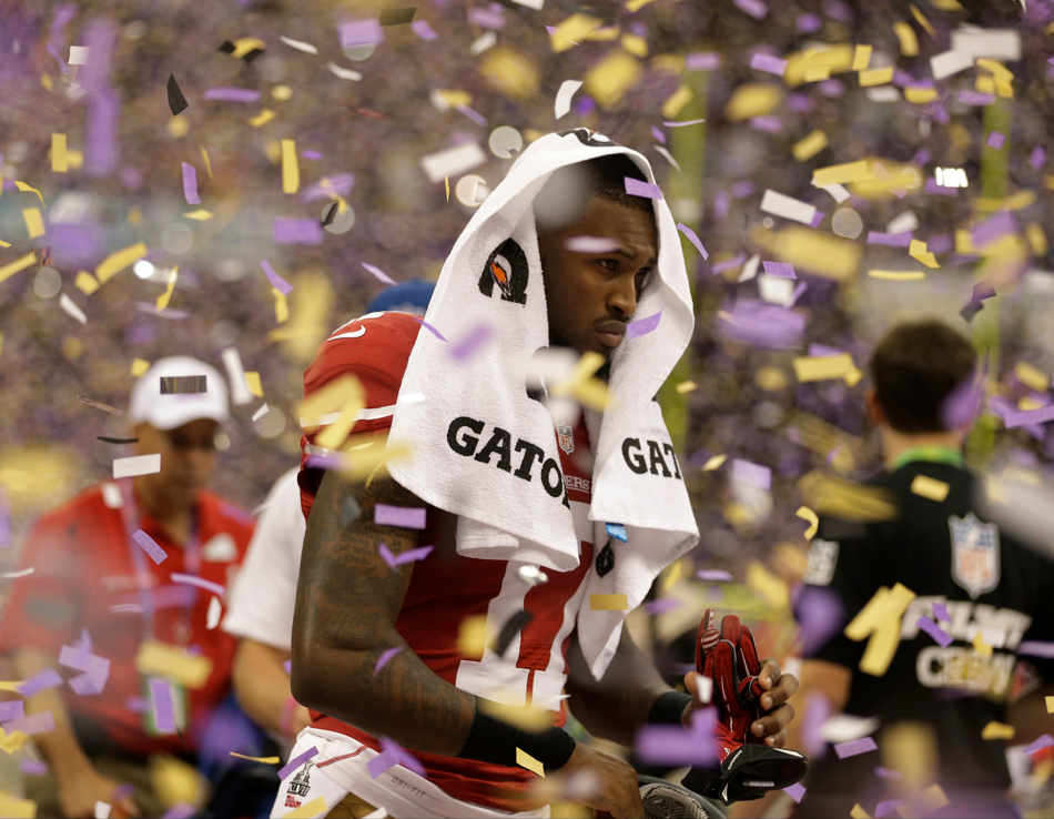 San Francisco 49ers wide receiver A.J. Jenkins (17) walks off the field after his team's 34-31 loss to the Baltimore Ravens in the NFL Super Bowl XLVII football game, Sunday, Feb. 3, 2013, in New Orleans. (AP Photo/David Goldman)