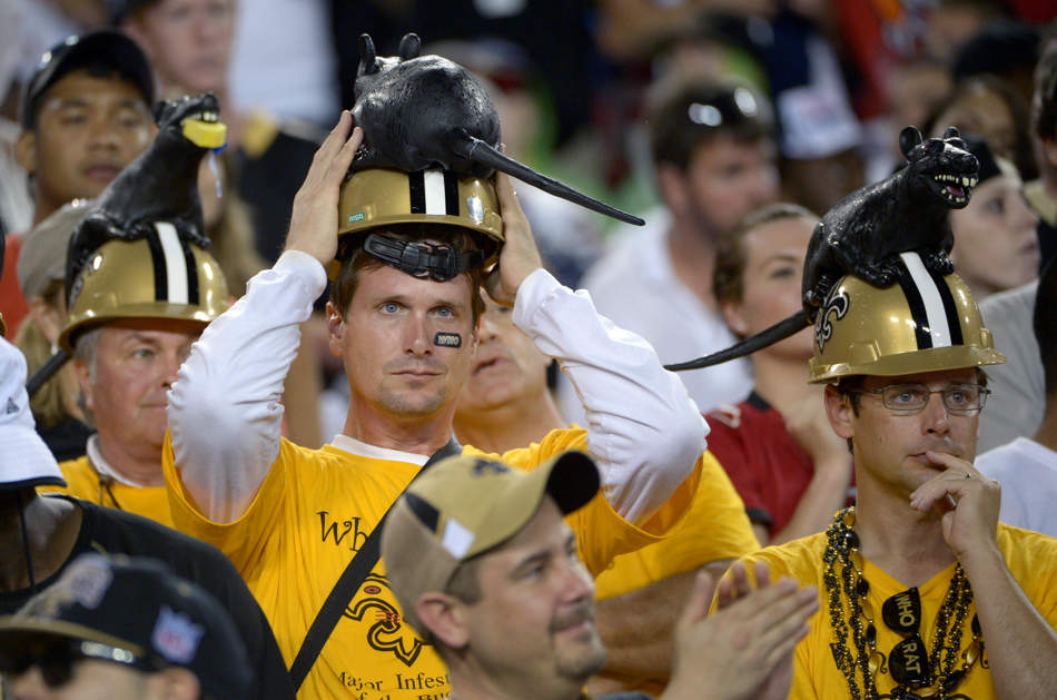 New Orleans Saints fans watch from the stands during the second half of an NFL football game against the Tampa Bay Buccaneers in Tampa, Fla., Sunday, Sept. 15, 2013.(AP Photo/Phelan M. Ebenhack)