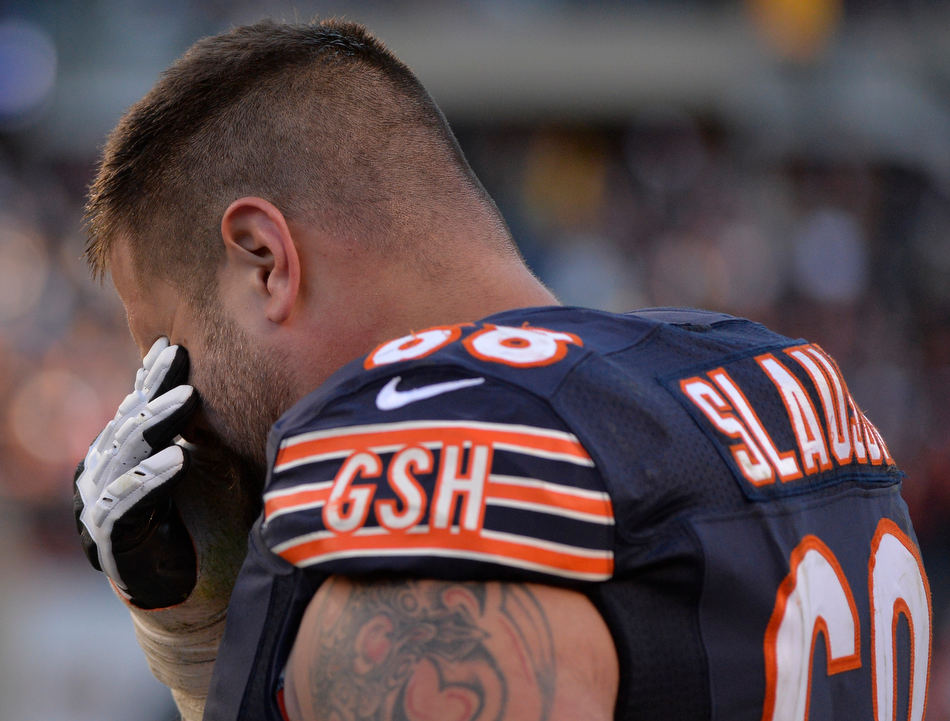 RON JOHNSON/JOURNAL STAR  Bears guard Matt Slauson reacts after Sunday's 21-19 loss to the Lions at Soldier Field.