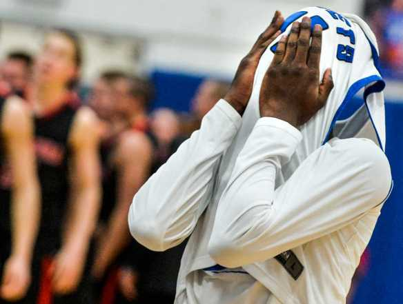 RON JOHNSON/JOURNAL STAR   Limestone's Terrence Shelby reacts after a three-point attempt at the buzzer ended in a 62-59 win for Metamora on Friday, Feb. 28 in Bartonville.