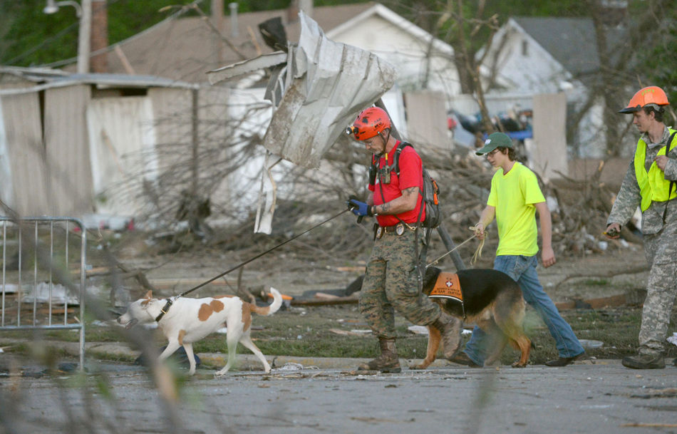 A K-9 rescue unit walks along Military Street in Baxter Springs, Kan., April 27, 2014, as they survey the damage from Sunday's tornado.  A powerful storm system rumbled through the central and southern United States on Sunday, spawning a massive tornado that  carved through Little Rock's northern suburbs and another that hit Oklahoma and Kansas. (AP Photo/The Joplin Globe, Roger Nomer )