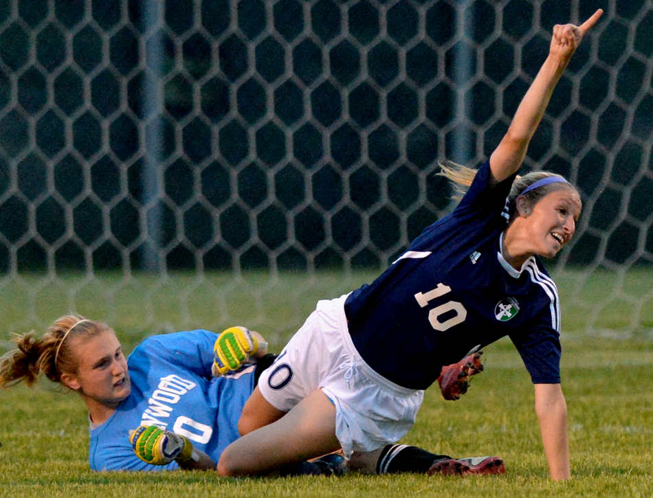 RON JOHNSON/JOURNAL STAR   Elizabeth Mills reacts after scoring Notre Dame's only goal in regulation on June 3 against defending champ Chatham Glenwood in the Class 2A Morton supersectional, tying the game and sending it to overtime. The Irish ended up losing 2-1.