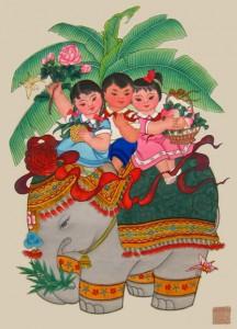 New Year print: [Ji xiang ru yi] (吉祥如意, An auspicious and wish-fulfilling year). Tianjin, China: Tianjin Yangliuqing Painting Shop, circa 1958-1980. Cotsen Children's Library, call number 64129