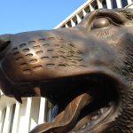 Close up of dog sculpture
