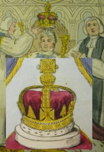 """George IV being crowned in the 1821 ed. (""""God save the King"""") with overlay of the New Imperial Crown (from leaf 15. Are they they the same?"""