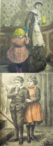 Two hand-colorings, both foregrounding the girls in the illustrations with color.