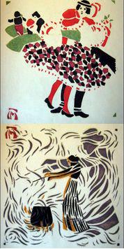 Figures 3a & 3b: Minka Podhaska, stenciled images from Schablanon Drücke, ca. 1903. (Cotsen Children's Library)