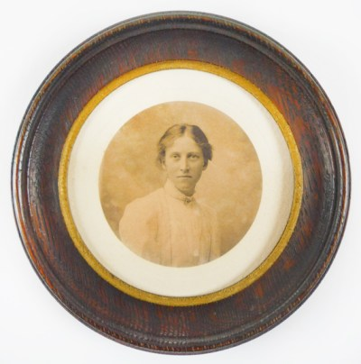 A Photograph of Honor C. Appleton in round frame, ca. 1912-1914 (Cotsen 61179)