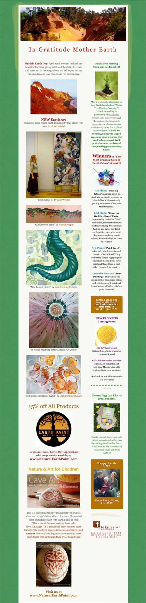 eARTh day 2013 news from Leah Mebane