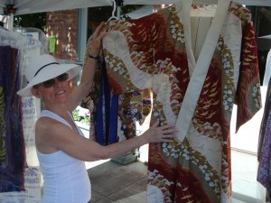 Judy Elliott of Dragonfly Designs West shows her newest Kimono...