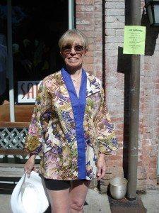 Judy models her newest Happi Coat