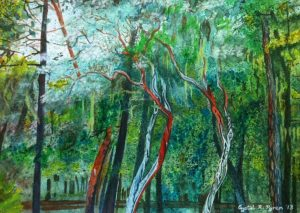 Madrone Trees at Applegate Lake, watercolor by Crystal Pyren