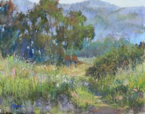 Through the Trees,  Pastel Painting by Randye Jensen