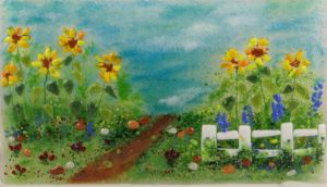 Sunflower Path, glass art by Jessica Carrara