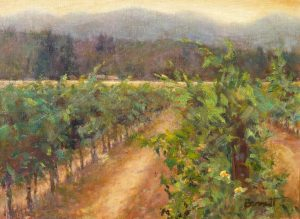 Rogue Valley Vineyard, Oil painting by Sue Bennett