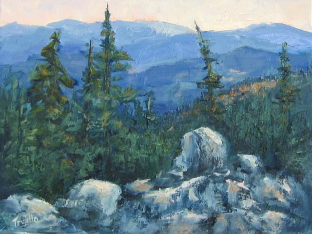 """And the Rocks Remain""Plein air oil painting by Silvia Trujillo, Ashland, Oregon 2014"